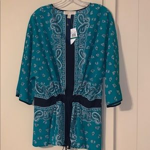 Michael Kors Large Island Green Paisley Cover-up